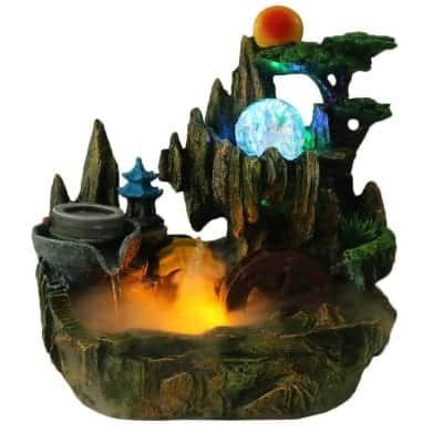 Xedragony Tabletop Fountain Waterfall with Mister Spinning Ball