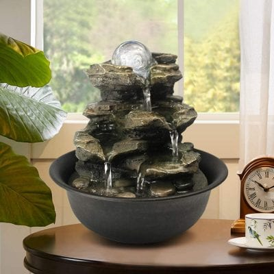 BBabe Spinning Orb Rock Cascading Tabletop Fountain