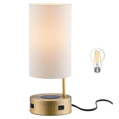 Lampression USB Nightstand Table Lamp with Wireless Charging
