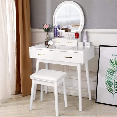 Amzdeal Makeup Vanity Dressing Table with Lighted Mirror