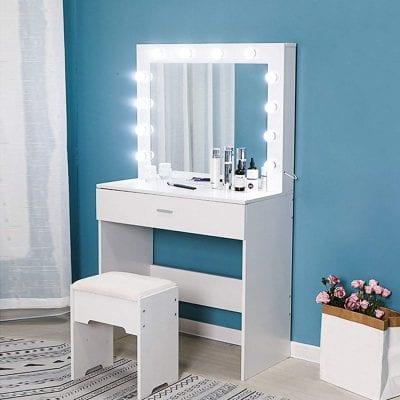 Riforla Makeup Vanity Set with Lighted Mirror
