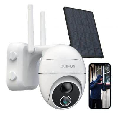 BOIFUN Solar Security Camera Outdoor, SD:Cloud Storage